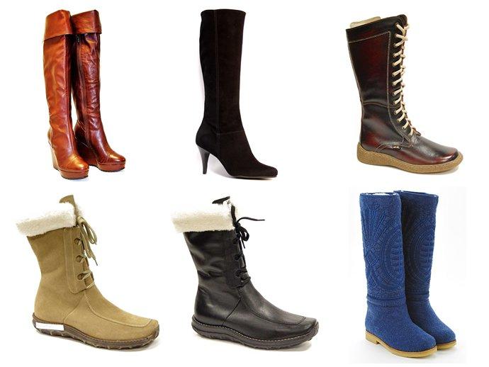 На фото зимняя обувь сапоги, ботфорты, ботинки и валеноки. Выбираем зимнюю обувь